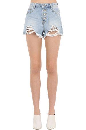 SJYP Mujer Vaqueros - Shorts De Denim De Algodón Desgastados