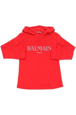 Balmain | Niña Sudadera De Algodón Con Logo Estampado Y Capucha 6a