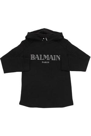 Balmain | Niña Sudadera De Algodón Con Logo Estampado Y Capucha 8a