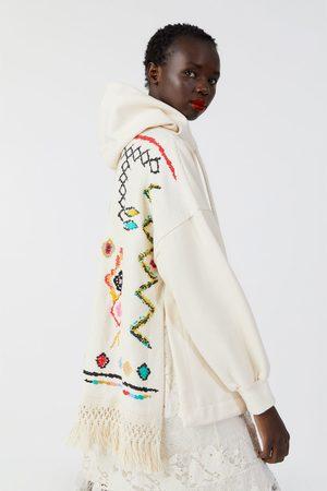 Zara Sudadera oversize combinada flecos