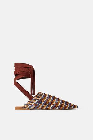 Zara Mujer Planos - Zapato babucha piel trenzada multicolor