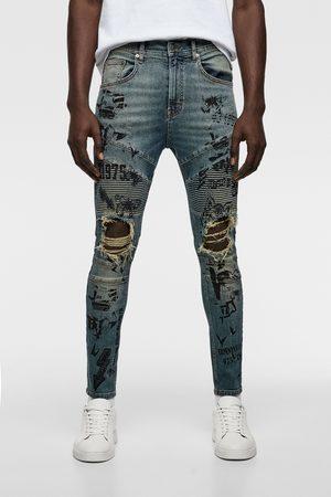 Zara Hombre Pitillos - Jeans skinny biker texto