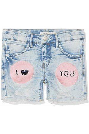 Name it Nkfsalli Dnmtalise 1157 Shorts W/Art, Pantalones Cortos para Niñas, Light Blue Denim