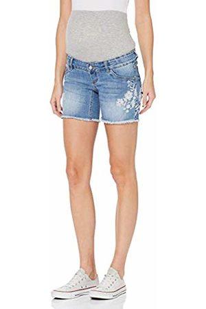 Mama Licious Mlchelsea Slim Emb Shorts A, Pantalon Corto Premama para Mujer, Light Blue Denim