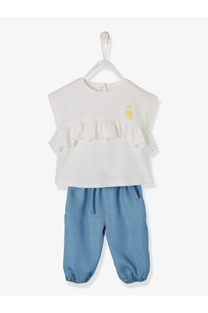216e0a3e2b7 Vertbaudet Conjunto bebé niña camiseta con volante + pantalón denim ligero  claro lavado. Azul