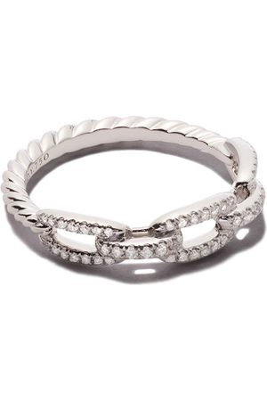 David Yurman Anillo Stax con eslabones y diamantes en pavé en oro blanco 18kt
