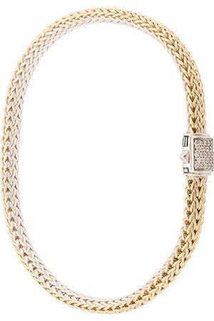 John Hardy Pulsera Classic Chain reversible en plata de ley y oro 18kt con diamantes