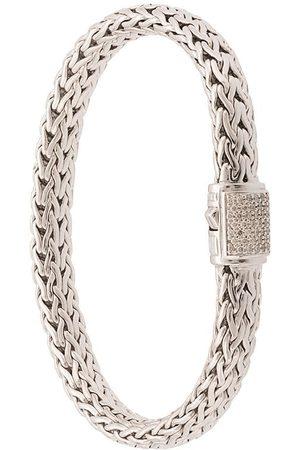 John Hardy Pulsera Classic Chain mediana en plata de ley con diamantes