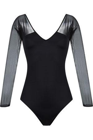 Brigitte Mujer Bañadores - Body con panel de tul y cuello en V