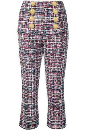 Balmain Mujer Pantalones capri y midi - Pantalones en tweed con botones en el frente