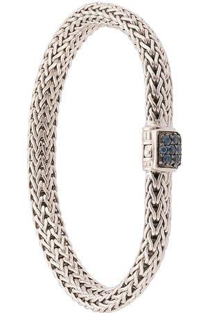 John Hardy Pulsera Classic Chain pequeña en plata de ley con zafiros