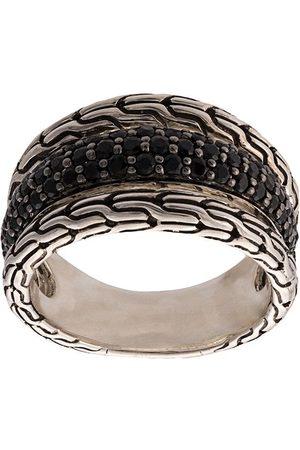 John Hardy Anillo Classic Chain en plata de ley con zafiros y espinelas