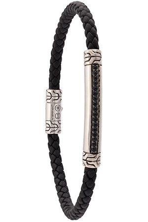 John Hardy Pulsera Classic Chain trenzada en cuero y plata de ley con zafiros negros