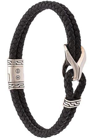 John Hardy Pulsera Classic Chain entretejida en cuero con cuentas en plata de ley
