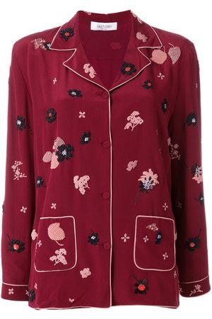 VALENTINO Top estilo pijama con parche floral