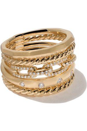 David Yurman Anillo Stax ancho con diamantes en oro 18kt