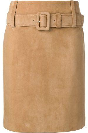 Prada Falda recta de cuero