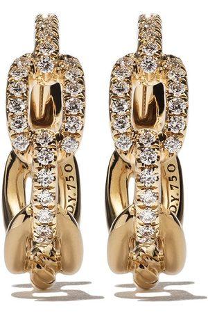 David Yurman Pendientes de aro Stax con correa de eslabones y diamantes en oro 18kt