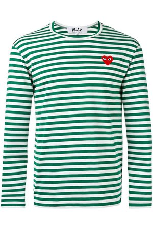 Comme des Garçons Camiseta manga larga a rayas con detalle de corazón