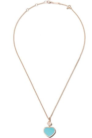 Chopard Collar Happy Hearts con turquesa y diamante en oro rosa 18kt