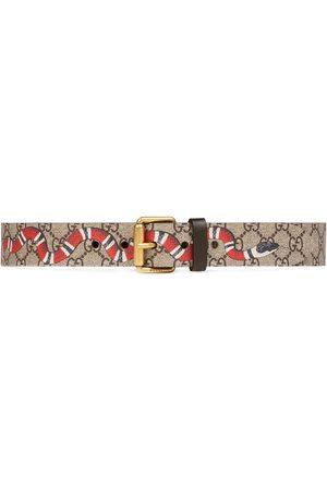 Gucci Cinturón con estampado de serpiente GG Supreme