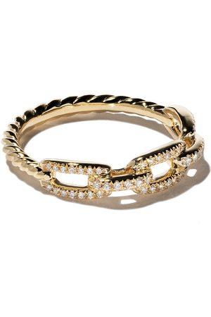 David Yurman Anillo Stax con cadena de eslabones y diamantes en pavé en oro 18kt