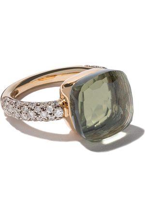 Pomellato Anillo Nudo con prasiolita y diamantes en oro rosa 18kt y oro blanco 18kt