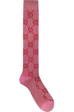 Gucci Calcetines de lúrex con logo G entrelazado