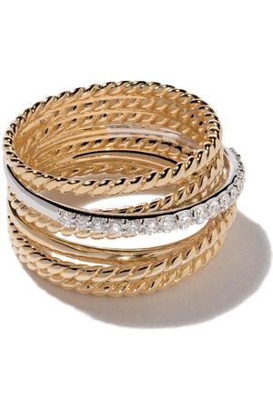 David Yurman Anillo Crossover ancho con diamantes en oro 18kt