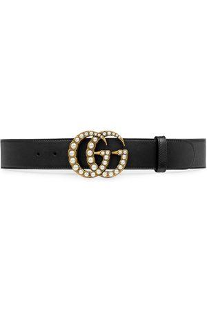 Gucci Cinturón con Doble G con apliques perlados