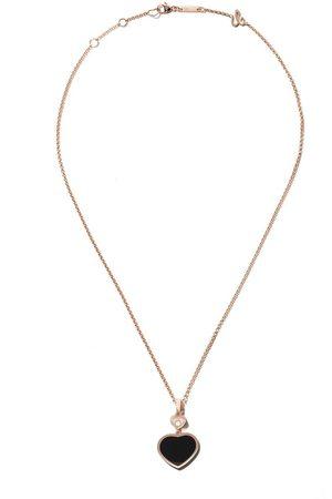 Chopard Collar Happy Hearts con ónix y diamante en oro rosa 18kt