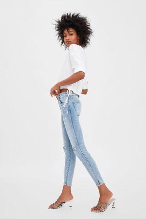 Zara Jeans mid rise skinny compact rotos