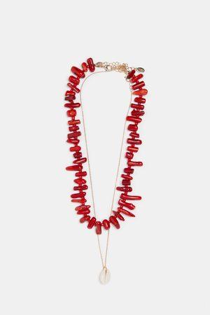 Zara Pack 2 collares coral y conchas