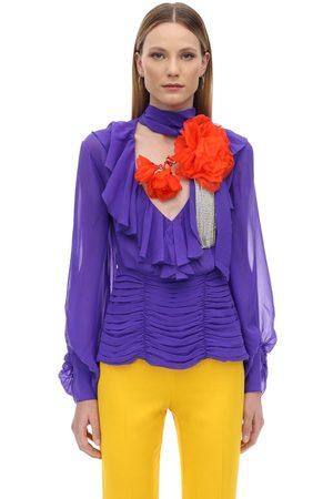 MARIANNA SENCHINA   Mujer Camisa De Seda Fruncida Con Flor De Cristales Xs