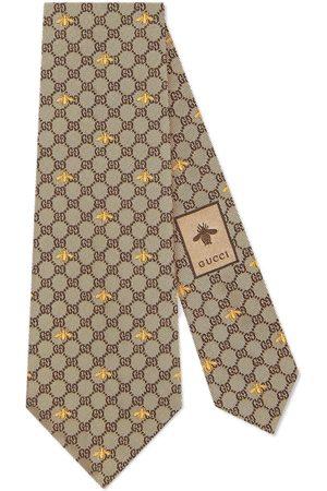 Gucci Corbata de seda con GG y abejas