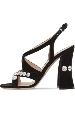 Miu Miu   Mujer Sandalias De Ante Con Cristales 105mm 36