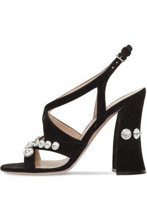 Miu Miu Mujer Sandalias - Sandalias De Ante Con Cristales 105mm