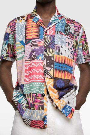 Zara Camisa punto estampado geométrico