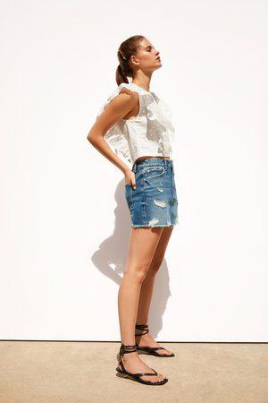 Zara Falda mini denim rotos