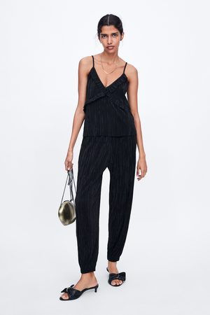 Zara Mujer Joggers - Pantalón jogger plisado
