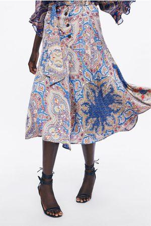 Zara Mujer Estampadas - Falda estampada botones