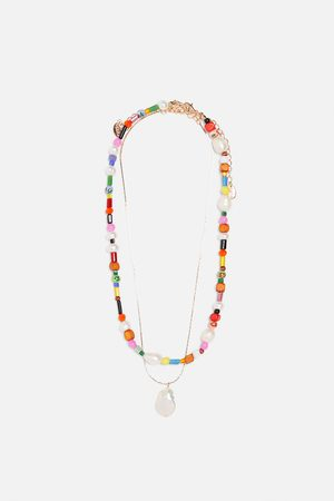 Zara Pack collares perla natural multicolor