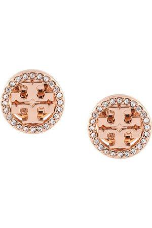Tory Burch Pendientes circulares con logo de cristales