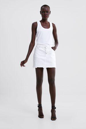Zara Mujer Minifaldas - Falda mini denim rotos