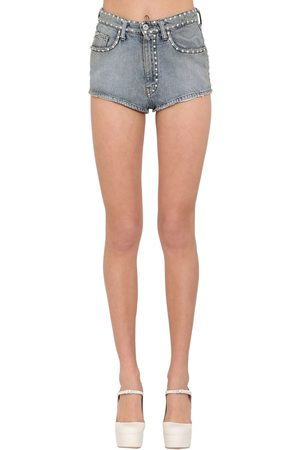 Miu Miu Crystal Embellished Cotton Denim Shorts