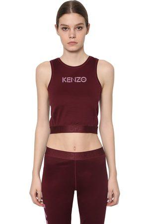 Kenzo   Mujer Top Cropped De Algodón Stretch Con Estampado Xs