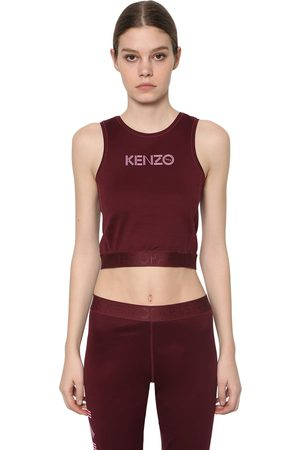 Kenzo Top Cropped De Algodón Stretch Con Estampado