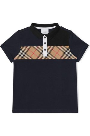 Burberry Polos - Vintage Check Panel Cotton Polo Shirt