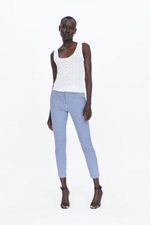 Zara Mujer Joggers - Pantalón jogger waist cuadro vichy