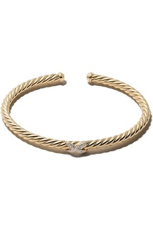 David Yurman Brazalete X Cable Spira con diamantes en oro amarillo de 18kt